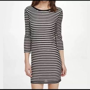 Express Black & White Striped Scoop Back Dress